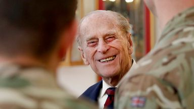 Prince Philip, in his capacity of Colonel, Grenadier Guards, chats to sergeants in March 2017. Pic: AP