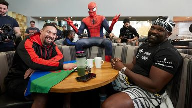 Parker and Chisora's breakfast with Spiderman