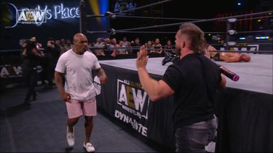 Tyson's KO punch in wrestling appearance!