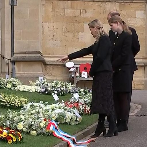 Prince Edward and Sophie read tributes left with thousands of flowers at Windsor ahead of Duke of Ed