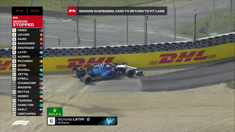 Nicholas Latifi damages the front wing of his Williams car as he crashes out on final practice in Imola
