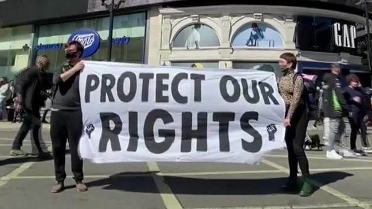 Protesters in London march to oppose the Police, Crime, Sentencing and Courts bill which aims to toughen rules on demonstrations.