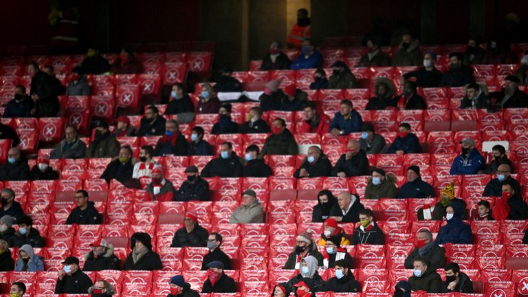 File photo dated 13-12-2020 of Arsenal fans watch their side in the stands during the Premier League match at Emirates Stadium, London.