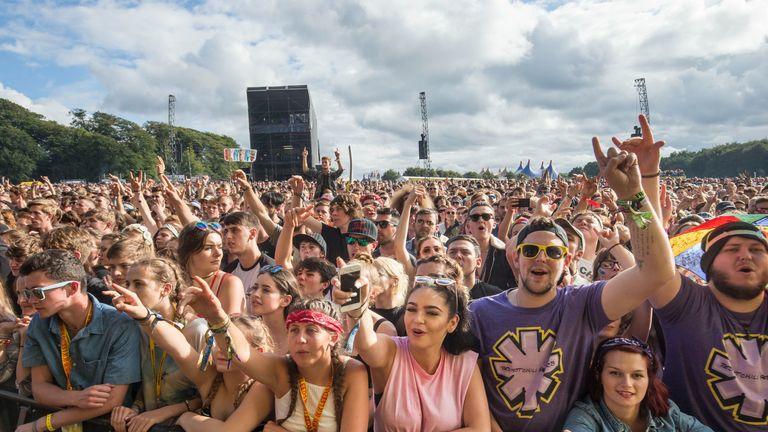 Festival-goers at Leeds Festival at Bramham Park, West Yorkshire.
