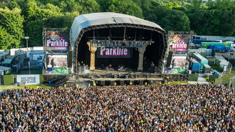 View from above of the festival site on day 2 of Parklife festival on June 07, 2015 in Heaton Park Manchester, United Kingdom