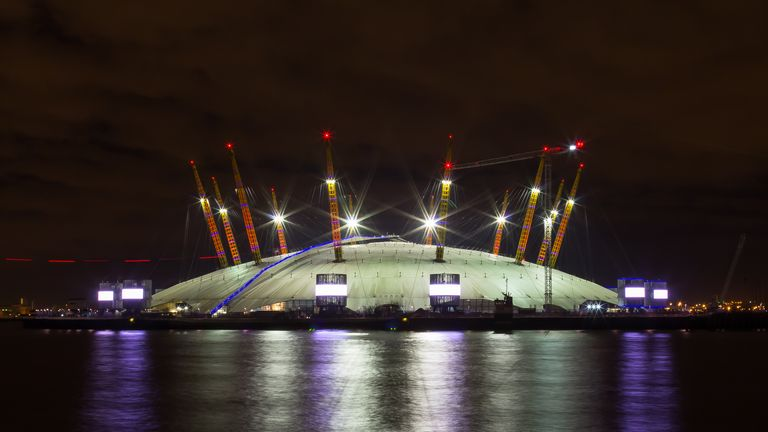 London,  UK - 7th March 2014: The 02 Arena at night with reflections in the water. This is a popular concern and entertainment venue.