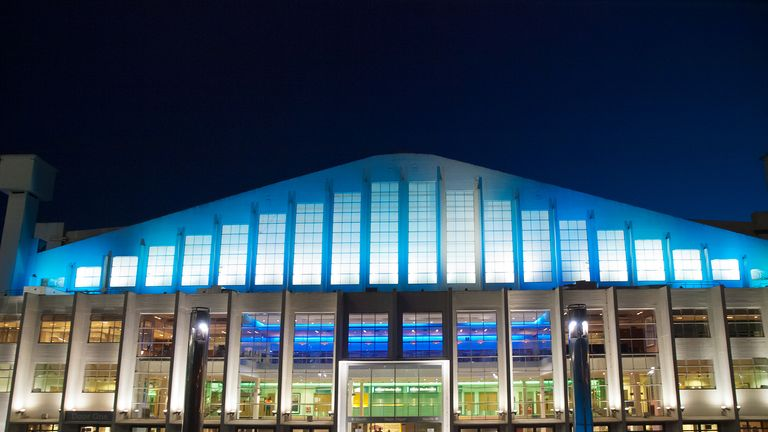 London, United Kingdom - May 22, 2009 : Wembley Arena at night with colorful lighting before a concert