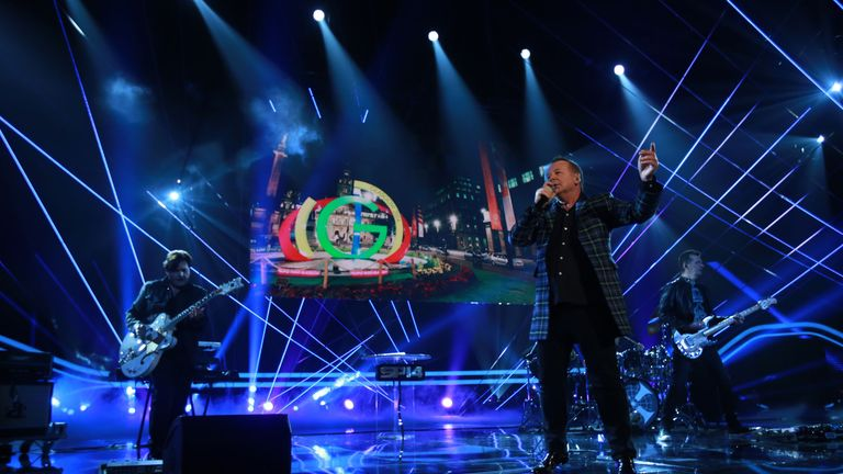 Simple Minds perform during the 2014 Sports Personality of the Year Awards at the SSE Hydro, Glasgow.