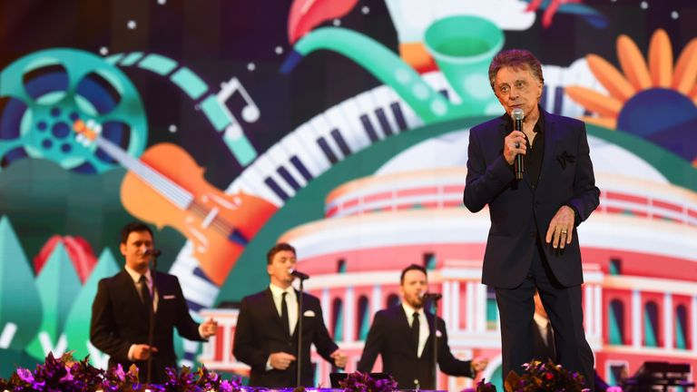 Frankie Valli performing at BBC Proms in the Park in Hyde Park, London.