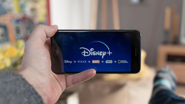 Amsterdam, The Netherlands, 02/03/2020, Disney+ startscreen on  mobile phone. Disney+ online video, content streaming subscription service. Disney plus, Star wars, Marvel, Pixar, National Geographic.