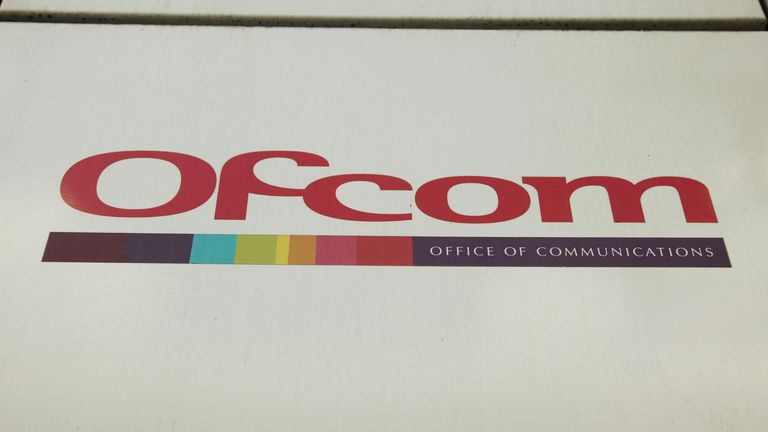 A sign at the offices of Ofcom (Office of Communications) in Southwark, London.