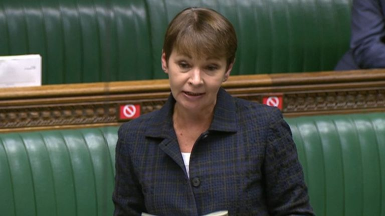 Caroline Lucas speaks during Prime Minister's Questions in the House of Commons, London.
