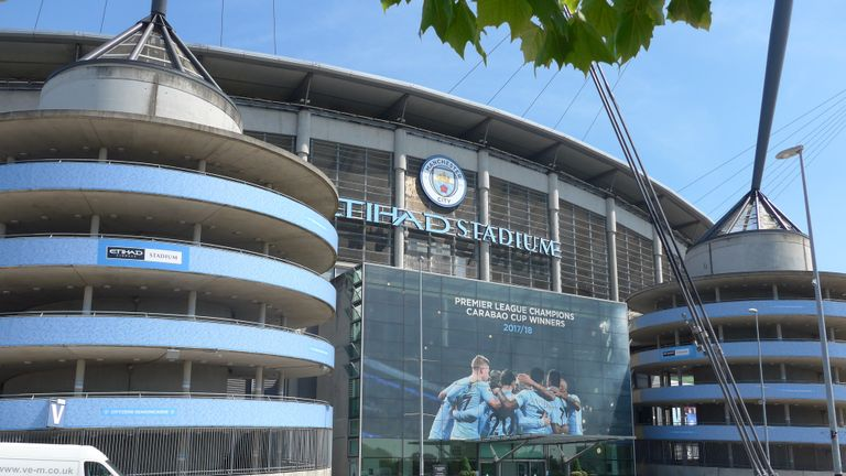 Etihad Stadium of Manchester City soccer club. The stadium is now empty because of the COVID-19 disease