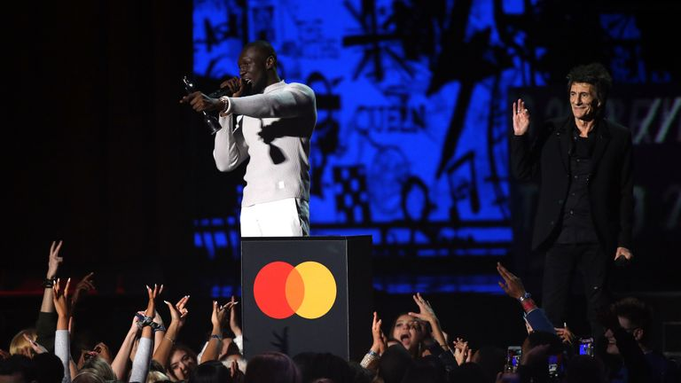 Stormzy on stage at the Brit Awards 2020 at the O2 Arena, London.