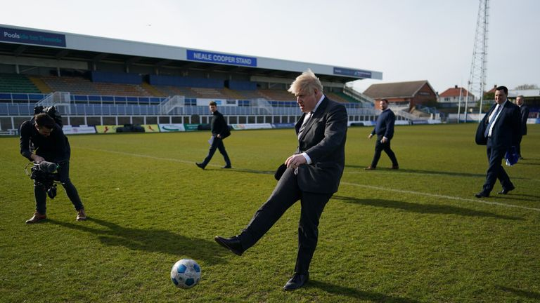 Prime Minister Boris Johnson kicking a football during a visit to the Hartlepool United Football Club, in Hartlepool, ahead of the May 6 by-election. Picture date: Friday April 23, 2021.