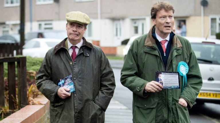 Brexit Party leader Nigel Farage (left) with Brexit Party Chairman and parliamentary candidate for Hartlepool, Richard Tice (right) on the General Election campaign trail in Hartlepool, County Durham.