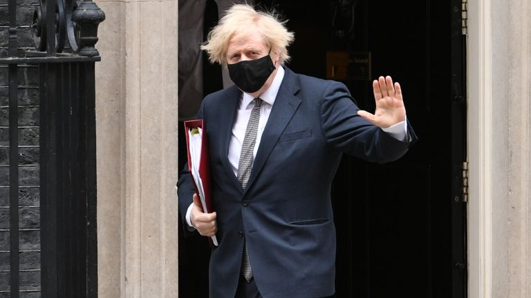 Prime Minister Boris Johnson leaves 10 Downing Street to attend Prime Minister's Questions at the Houses of Parliament. Picture date: Wednesday March 24, 2021.