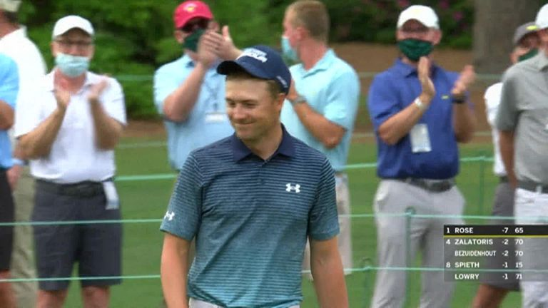 "The Masters: Jordan Spieth tripled the ninth but fought back with a ""very lucky"" eagle at 15 
