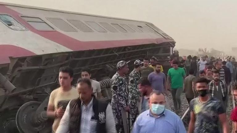 Ninety-seven people were injured on Sunday (April 18) when four train carriages derailed in Egypt's Qalioubia province north of Cairo, the health ministry said in a statement.