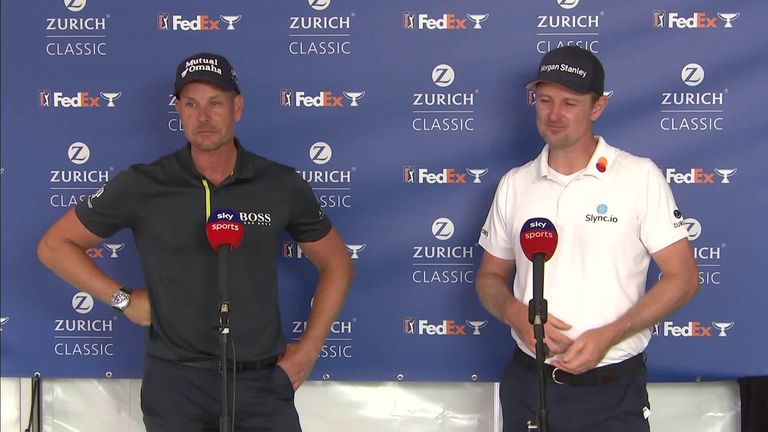 Justin Rose and Henrik Stenson discuss walk-on music and their golfing partnership after shooting a 68 in the foursomes at the Zurich Classic of New Orleans