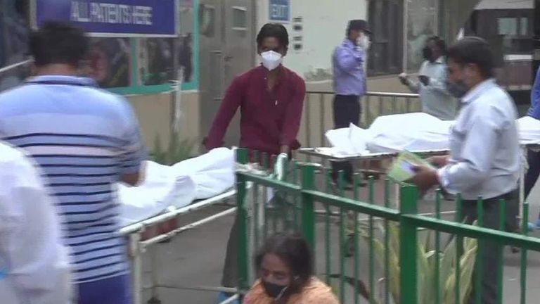 A Delhi hospital is overwhelmed by COVID patients