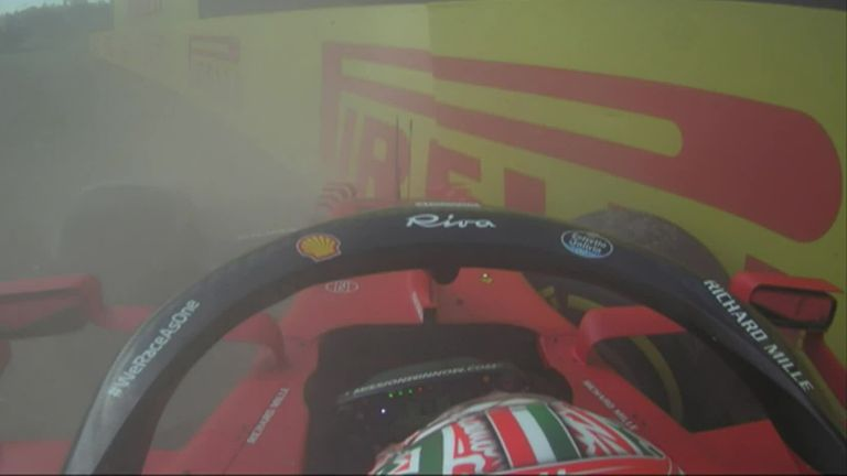It was an unfortunate end to Charles Leclerc's session as the Ferrari driver hits the wall during Practice Two