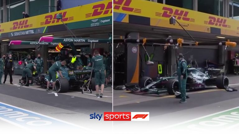 A chuckle at himself over the radio from Sebastian Vettel as he initially drives into McLaren's empty pit box, one up from his Aston Martin team