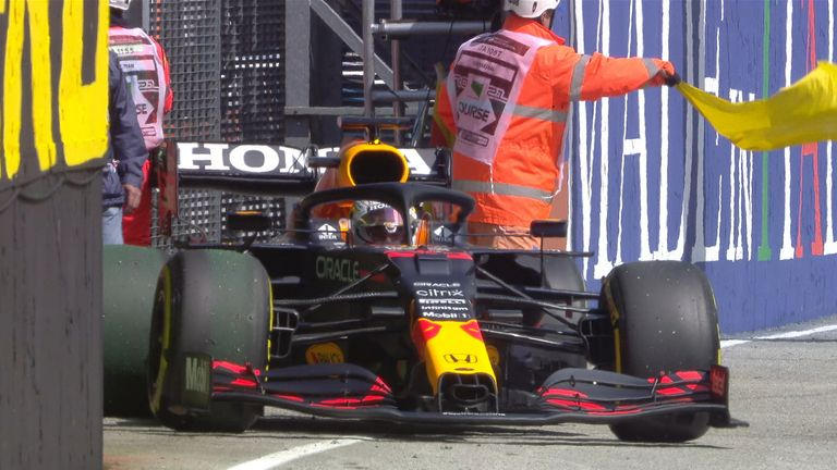 Max Verstappen stopped his Red Bull on track - not the start to this session he had in mind
