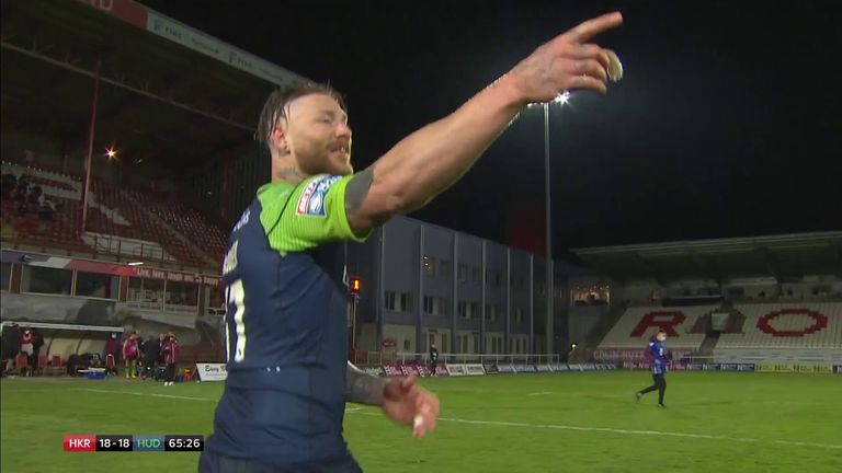 Chris McQueen fumbled the ball in the in-goal area before getting the ball down but the video referee gave the try