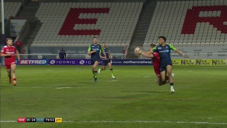 Ethan Ryan made a last ditch tackle when the ball looked destined to reach Darnell McIntosh in a dangerous position