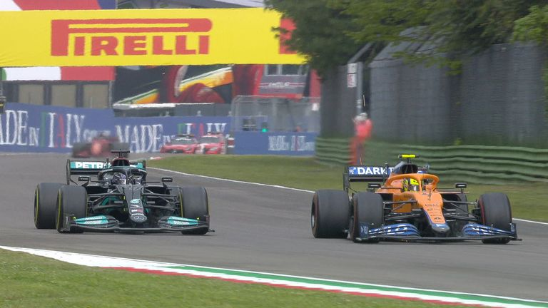 Lewis Hamilton overtakes Lando Norris in the final stages of the race to reclaim second position.