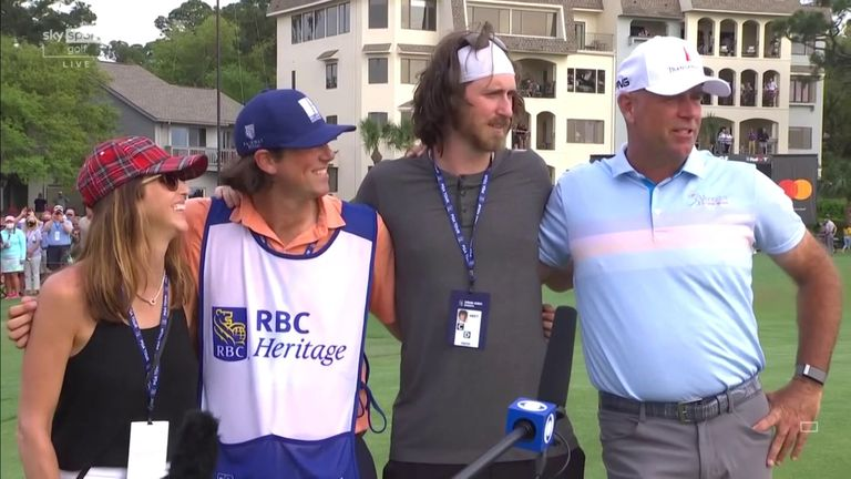 Stewart Cink is joined by his family on the 18th green as he reflects on registering a four-shot victory and eighth PGA Tour title at the RBC Heritage