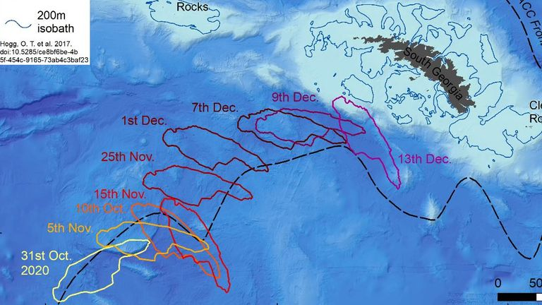 Graphic shows the route of the iceberg over the last few weeks