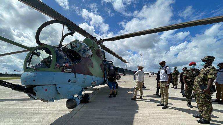 Boarding a helicopter in Afungi, Mozambique. Alex Crawford copy. 05 April 2021