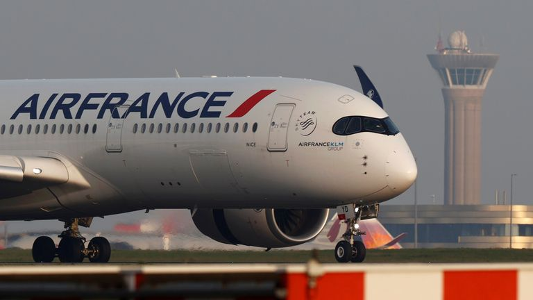 An Air France Airbus A350 airplane lands at the Charles-de-Gaulle airport in Roissy, near Paris, France April 2, 2021. REUTERS/Christian Hartmann