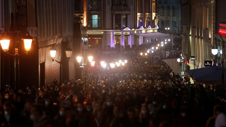 Crowds like this one in Moscow have gathered in support of Mr Navalny across Russia