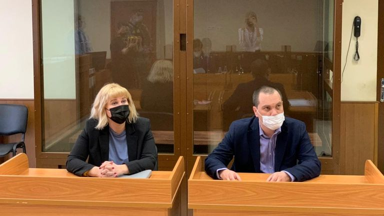 Olga Mikhailova and Vadim Kobzev, lawyers of Russian opposition leader Alexei Navalny, are seen in a courtroom before a hearing to consider an appeal against an earlier court decision that found Navalny guilty of slandering a Russian World War Two veteran, in Moscow, Russia April 29, 2021. Press Service of Babushkinsky District Court of Moscow/Handout via REUTERS ATTENTION EDITORS - THIS IMAGE HAS BEEN SUPPLIED BY A THIRD PARTY. NO RESALES. NO ARCHIVES. MANDATORY CREDIT.