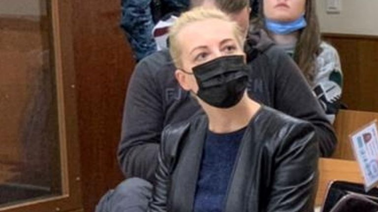 Yulia Navalnaya, wife of Russian opposition leader Alexei Navalny, is seen in a courtroom before a hearing to consider an appeal against an earlier court decision that found Navalny guilty of slandering a Russian World War Two veteran, in Moscow, Russia April 29, 2021. Press Service of Babushkinsky District Court of Moscow/Handout via REUTERS ATTENTION EDITORS - THIS IMAGE HAS BEEN SUPPLIED BY A THIRD PARTY. NO RESALES. NO ARCHIVES. MANDATORY CREDIT.