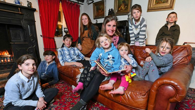 Our Yorkshire Farm star Amanda Owen and her nine children. Pic: Bruce Adams/ANL/Shutterstock
