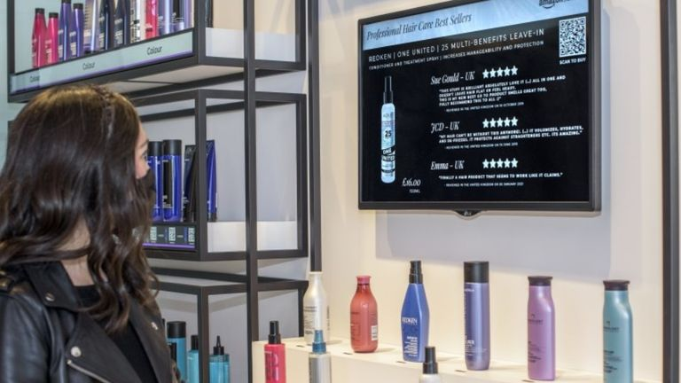 The salon offers 'point-and-learn technology' for products. Pic: Amazon
