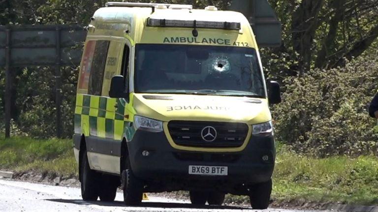 An object hit the ambulance's windscreen
