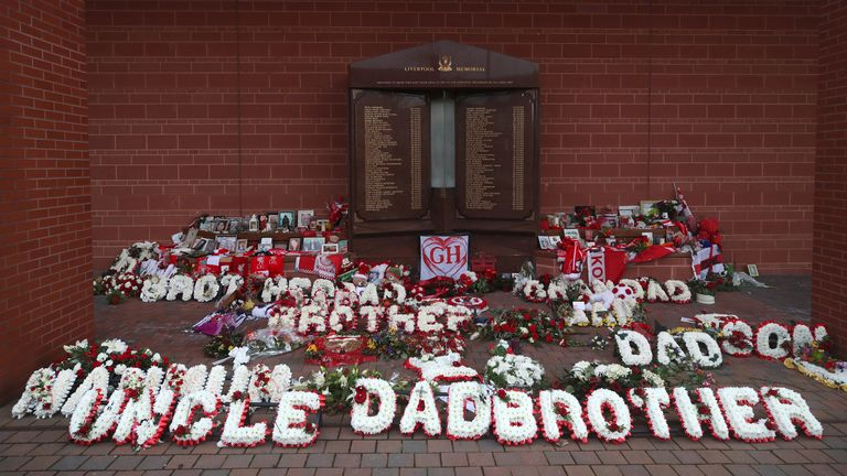 Tributes of flowers at Anfield in December 2020 to remember victims of the 1989 Hillsborough disaster in Sheffield