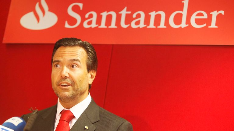 Ant..nio Horta-Os..rio, Chief Executive of Santander UK at the launch of the first official Santander branch in Tottenham Court Road in central London. PRESS ASSOCIATION Photo. Picture date: Monday January 11, 2010.