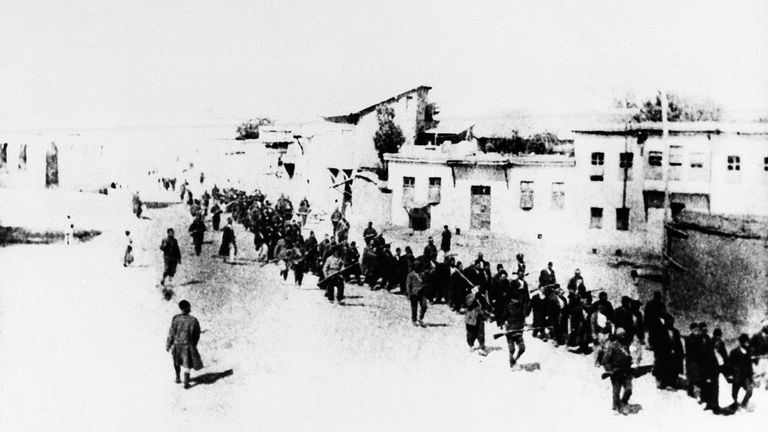 Turkey in 1915, when Armenians were marched long distances towards the Syrian desert. Pic: Associated Press