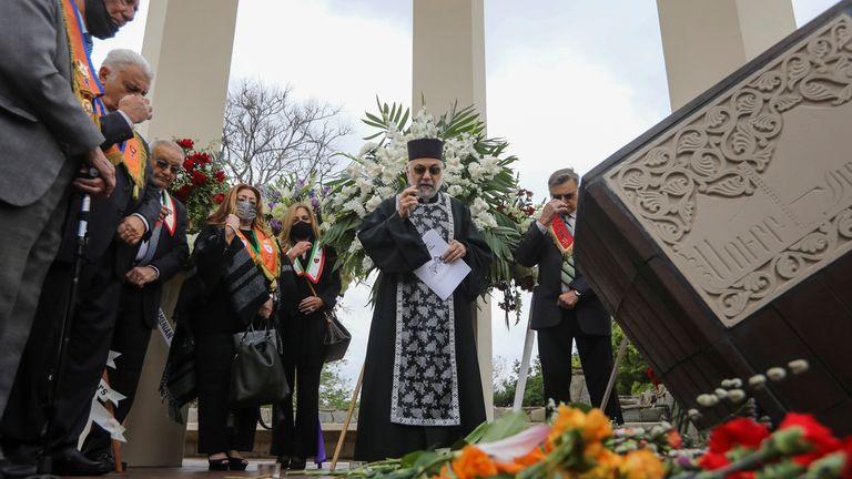 Members of the Armenian diaspora gather in Montebello, California
