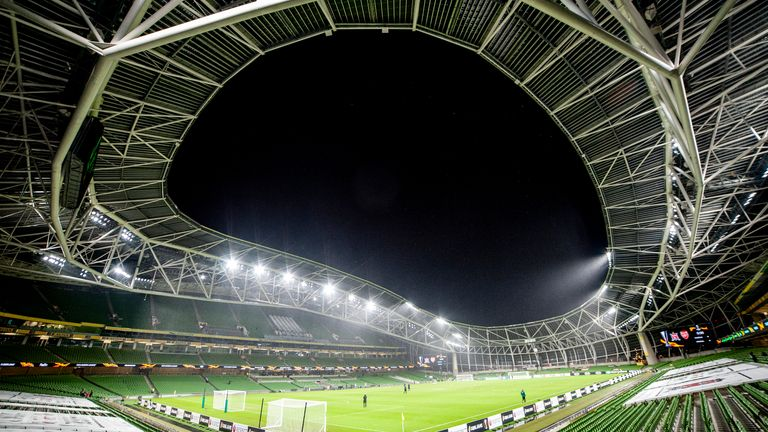 A general view of Aviva stadium during the Europa League Group B match between Dundalk FC and Arsenal FC at Aviva Stadium in Dublin, Ireland on December 10, 2020 (Photo by Andrew SURMA/ SIPA USA).