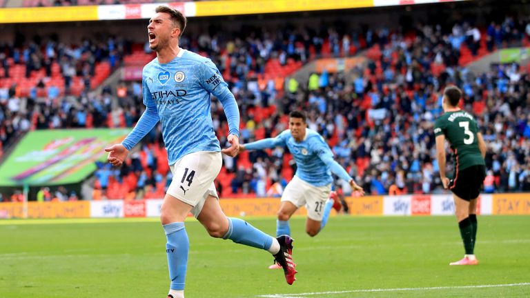 Aymeric Laporte after scoring for Manchester City