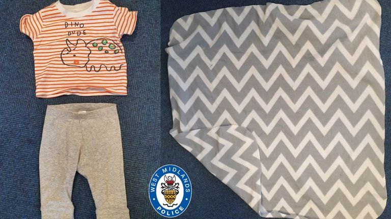 West Midlands police are urgently looking for the mother of a newborn baby left in a Birmingham Park the day before St George's Day. These are the clothes he was in. Pic: West Midlands Police