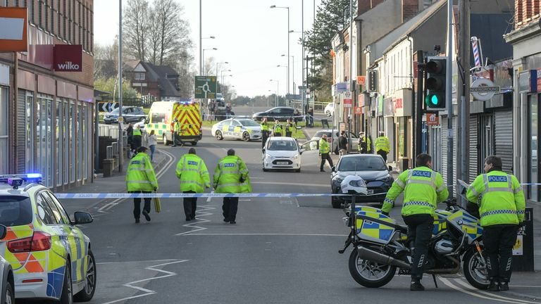 A two-week-old baby boy has died after his pram was hit by a car.