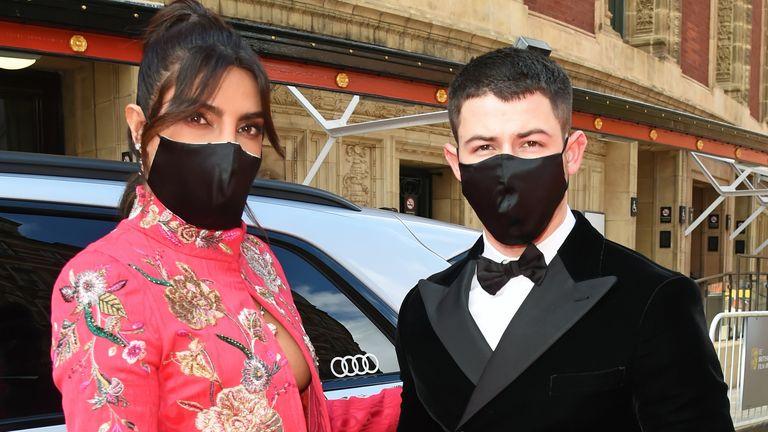 Priyanka Chopra Jonas and Nick Jonas outside the Royal Albert Hall for the BAFTAs